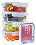 Glass Meal Prep Containers [5-pack] - Food Storage Containers with Lids - Food Prep Containers BPA free - Portion Control Containers Airtight Containers - Lunch Containers