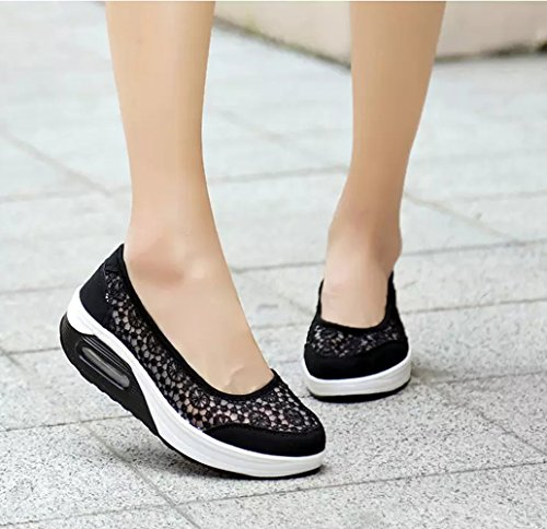Slip ShapeChaussures en Dentelle Sport pour Été Femme Respirant Casual Femmes Chaussures Baskets Compensées on de Souliers Platform ZRxUqwC