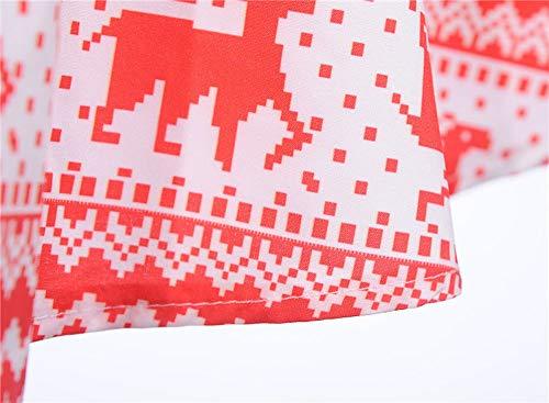 Chic Soiree Rouge Noël De Print Manches Femme Longue Hiver Robe Mariage Fête Vintage Angelof 3 4 xOCSZ7wZq