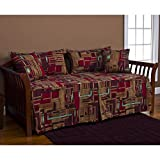 5 Piece Red Teal Medallion Daybed Set, Geometric Stripe Modern Western Southwest Frenetic Print Designs Striped Pattern Day Bed Lounge Bedding Ottoman Resting Place Bedroom Bedskirt Pillows, Polyester