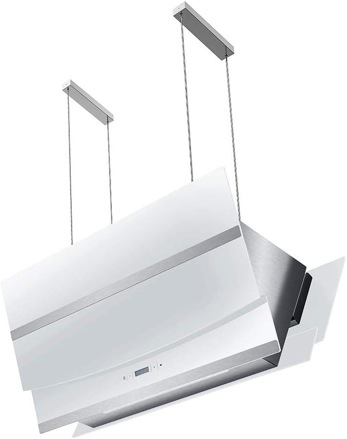 Campana extractora en isla (90 cm, acero inoxidable, cristal blanco, extra silencioso, clase energética A, 4 niveles, iluminación LED, pantalla) HERMES-INSEL-W902 - KKT KOLBE: Amazon.es: Grandes electrodomésticos