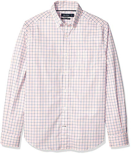 Nautica Men's Wrinkle Resistant Super Lux Plaid Stretch Button Down Shirt, Port Rose, Medium ()
