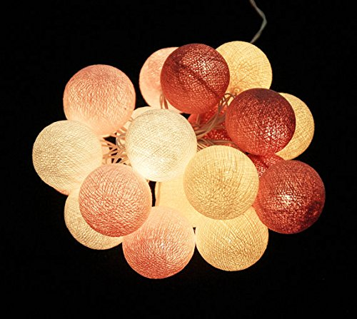 Battery AA LED 25 lights Sweet Pastel Rosy Brown Pink Cream White cotton ball string lights for Kids party, Paty,Wedding, Christmas Lights, Party Lights, Fairy Light and Decoration, fairy lights by Thai Decorated