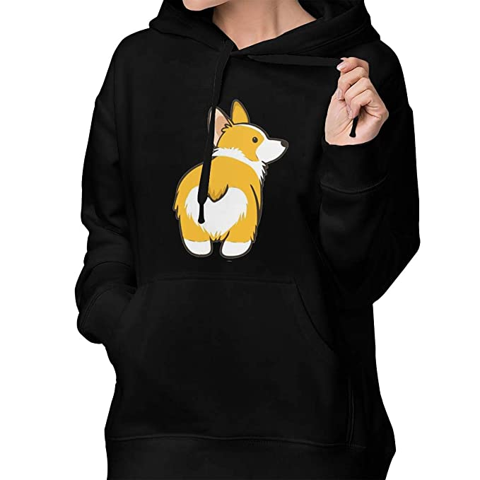 dbe32a840936 Corgi Butt Women Pullover Hoodies Long Sleeve Hooded Drawstring Sweatshirt  with Pocket at Amazon Women s Clothing store