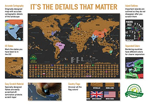 Scratch off world map poster with us states and country flags scratch off world map poster with us states and country flags track your adventures includes scratcher and memory stickers perfect gift for travellers gumiabroncs Images