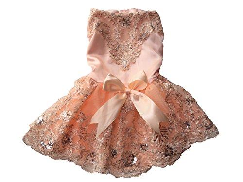 Vedem Pet Dog Floral Embroidered Lace Wedding Dress (S, Pink)