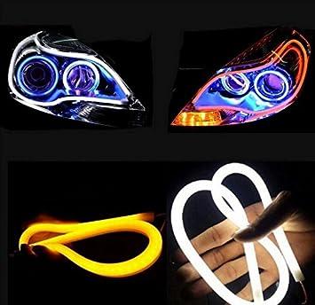 Haichen 2pcs White/Amber Led Car Headlights DRL Lights Switchback Strip Tube Turn Signal Lights (85cm)