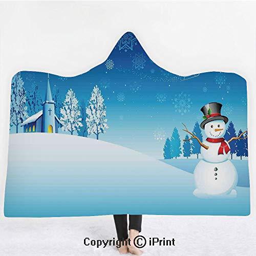 Christmas Decorations 3D Print Soft Hooded Blanket Boys Girls Premium Throw Blanket,Snowman on Christmas Eve Santas Sleigh in the Starry Sky Fantasy Art,Lightweight Microfiber(Kids 50