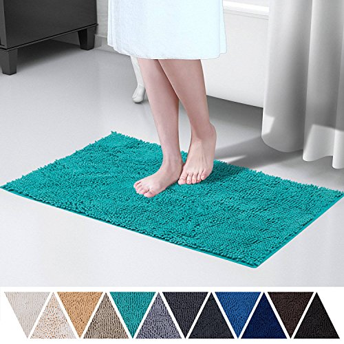 (DEARTOWN 20x32 Inch TPR Non-Slip Soft Microfibers of Bathroom Rug Machine-Washable Shaggy Bath Mats (20x32 Inches, Turquoise))