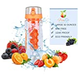 Fruit Infuser Water Bottle - Large 32oz, BPA Free, Flip Top, Leak Proof, Reusable - Features a Rubber Grip & Easy Carry Handle - Maximum Natural Hydration - Great for Detox, Sports, Running, Yoga, the Gym and Outdoors