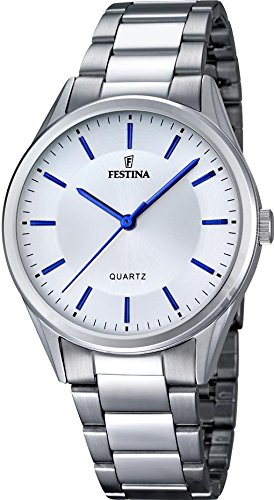 Festina F16875/3 Men's Watch Classic Silver-Tone Stainless Steel Blue Accents