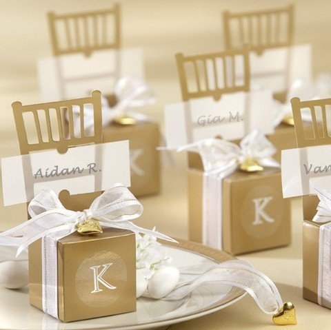 Kate Aspen Miniature Gold Chair Favor Box with Heart Char...