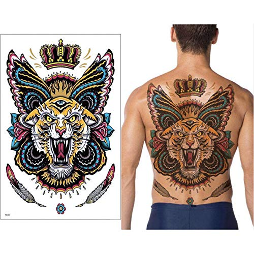 tzxdbh Big Large Back Back Pecho Tatuaje Etiqueta King Tiger ...