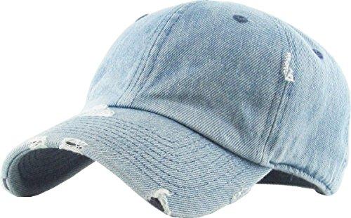 Vintage Denim - KBETHOS Vintage Washed Distressed Cotton Dad Hat Baseball Cap Adjustable Polo Trucker Unisex Style Headwear (Vintage) Light Denim Adjustable
