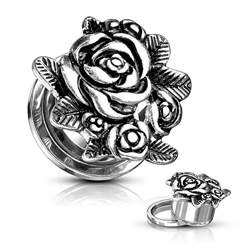 2PCS Stainless Steel Silver Rose Flowetr Double Flared Ear Tunnels Plugs Stretcher Expander Kit 00g(10mm)