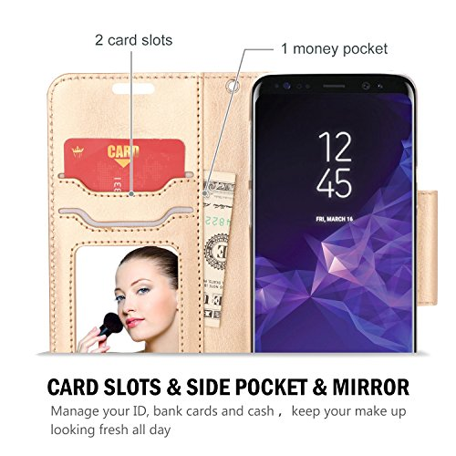 ProCase Galaxy S9 Wallet Case, Flip Kickstand Case with Card Holders Mirror Wristlet, Folding Stand Protective Book Case Cover for 5.8 Inch Samsung Galaxy S9 (2018 Release)