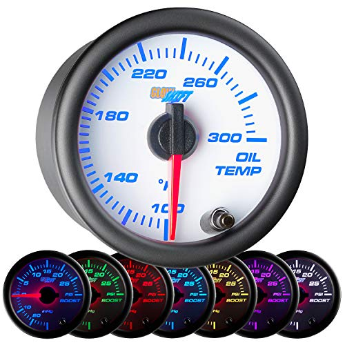 GlowShift White 7 Color 300 F Oil Temperature Gauge Kit - Includes Electronic Sensor - White Dial - Clear Lens - for Car & Truck - 2-1/16
