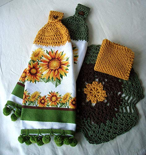 Sunflower Pompom Trim Hanging Towels Kitchen Set Matching Lace Trivet and Knit Dishcloth ()