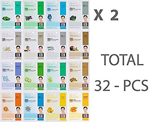 2 Sets of Dermal Korea Collagen Essence Full Face Facial Mask Sheet 16 Combo A Pack