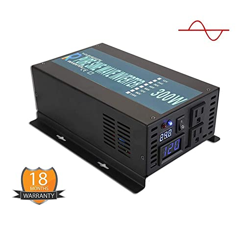 WZRELBRBP30024B1 Strong Car Power Inverter LED Display 300W Pure Sine Wave Car Inverter 24VDC Power Inverter, Black, 300W24V