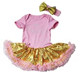 Easter Baby Dress Princess Crown Pink Bodysuit Gold Sequin Tutu NB-18m (3-6 Months)