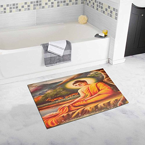 InterestPrint Art Thai Painting on Wall in Temple Fabric Bedroom Living Room Bath Mat Non Slip 32 L X 20 W Inches by InterestPrint