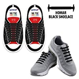 Homar Adult Elastic Athletic Flat No Tie Shoelaces - Best In Sports Outdoors Fan Shop Footwear Shoelaces - Once And For All Silicon Shoe Laces Perfect For Sneaker Boots Oxford And Casual Shoes - Black | amazon.com