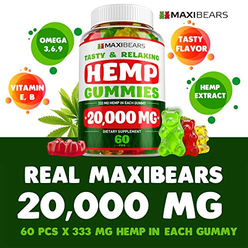 51lx0CikJyL - Hemp Gummies - 20000 MG - 333 MG per Gummy - Pain, Stress, Insomnia & Anxiety Relief - Made in USA - Tasty & Relaxing Herbal Gummies - Premium Extract - Mood & Immune Support