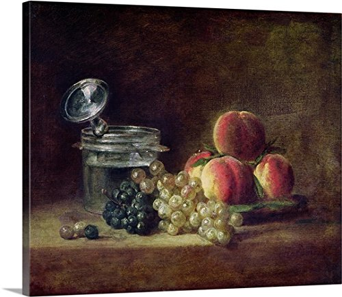 Still Life with a Basket of Peaches, White and Black Grapes with Cooler and Wineglass Gallery-Wrapped Canvas