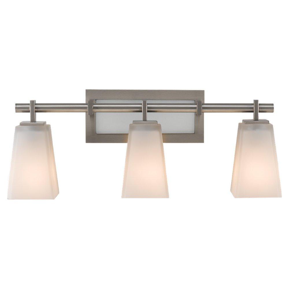 Feiss VS16603-BS 3-Bulb Vanity Light Fixture, Brushed Steel Finish