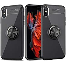 Cresawis for iPhone Xs Max Case, Ultra-Slim iPhone Xs Max Case with Ring Holder Stand Compatible Magnetic Car Mount Cover Case for Apple iPhone Xs Max (2018) 6.5 inch - Black