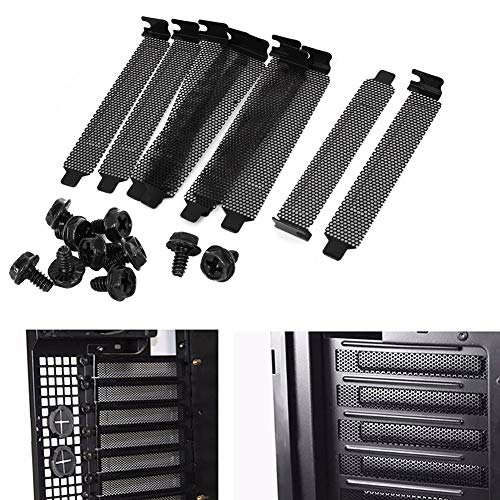 Luckycivia 20 PCS Black PCI Slot Cover, Dust Filter Blanking Plate, Hard Steel PCI Slot Cover with Screws