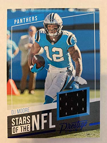 2019 Prestige Stars of the NFL Xtra Points Blue Jersey MEM #7 DJ Moore Carolina Panthers Official Panini Football Trading Card from 2017 Prestige Football