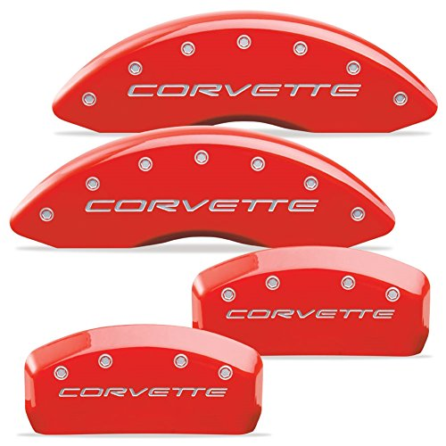"MGP Caliper Covers 13007-S-CVT-RD Red Powdercoat Brake Caliper Cover with Silver Corvette Letters for 17"" and Larger Wheels Corvette, (Set of 4)"