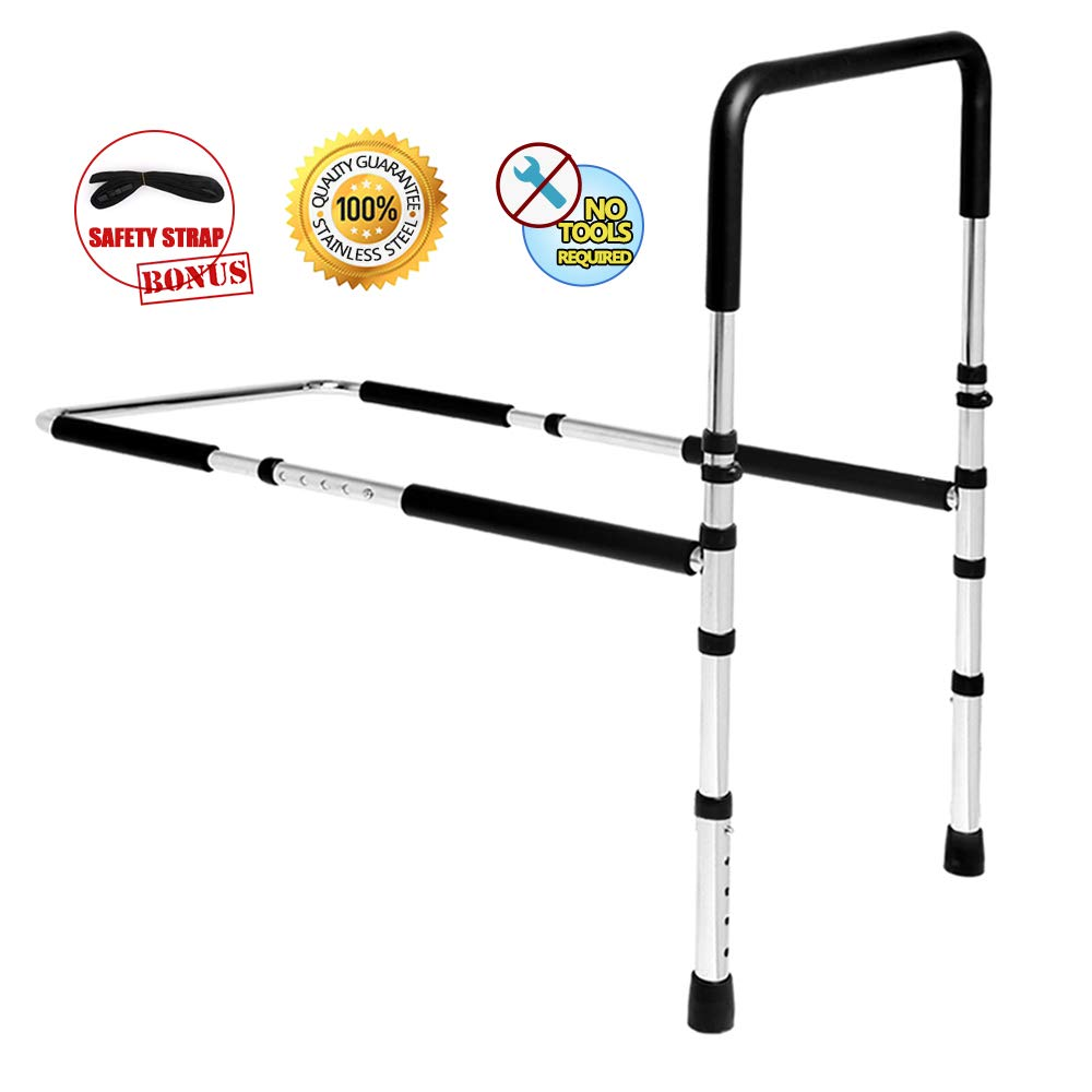 High-Quality Stainless Steel Bed Assist Rail Handle, Medical Adjustable Hand Guard Grab Bar, Bed Safety and Stability (New Upgrade) by SURPCOS