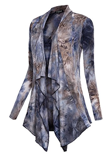 Urban CoCo Women's Drape Front Open Cardigan Long Sleeve Irregular Hem (Grey 1, M)