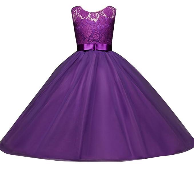 Mädchen Lange Spitzenkleid Tüllkleid Blumenspitze Prinzessin Kleid Hochzeit Partykleid Brautjungfern Abendkleider