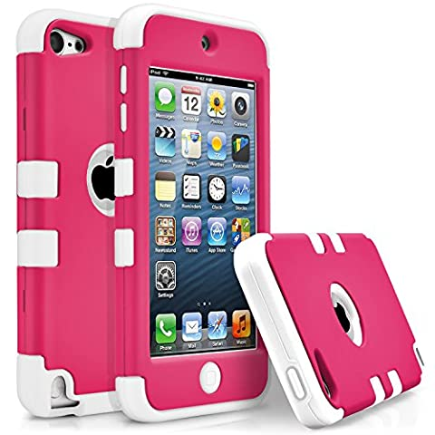 iPod Touch 5 Case, iPod Touch 6 Case, MagicMobile [Armor Shell Series] Double Layer Cover [Hard PC] + [Silicone] Hybrid Case for Apple iPod 5th Gen [Impact Shock Resistant] / [ Hot Pink - White (16 Gb Ipod 5th Generation)
