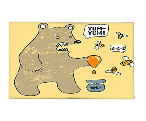 Interestlee Fleece Throw Blanket Cartoon Cute Caricature Style Bear with Bees and Honey Saying Yum Yum Kids Comic Graphic Taupe Yellow - Pot Of Honey Infant Costume