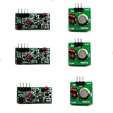 3 Pcs Low Power 433Mhz RF Transmitter and Receiver Kit, Super Regeneration Wireless Module Burglar Alarm Arduino DIY