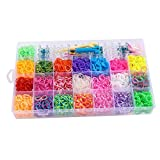 4400 Rubber Bands Refill Pack Colorful Loom Kit Organizer for Kids Bracelet Weaving DIY Crafting with 6 Silicon Charms Charms,64 S-Clips,1 Big Hook,6 Small Hook, 2 Y-Shape Loo