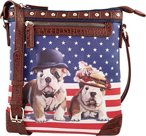 B BRENTANO Vegan Cute Animal Graphic Crossbody Bag Purse with Rhinestones and RFID Protection (Abbie & Buddy RF)