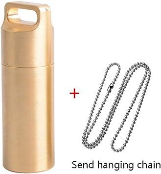 Senderismo emergencias S//M//L Leezo EDC para Camping Pastillero de lat/ón H62 Resistente al Agua con Cadena para Colgar