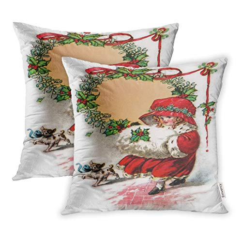Emvency Red Old Little Girl in Christmas Bonnet Muffler 1916 Vintage Antique Wreath Throw Pillow Covers Cover Set of 2 16x16 Inch Two Side Pillowcase Cases Case