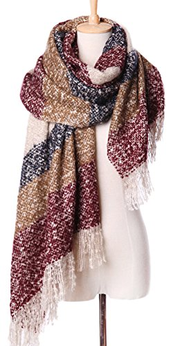 Ladies Mohair Knit Scarf (Ababalaya Women's Large Mohair Scarf with Tassels Plaid Warm Tartan Wrap Shawl (Red))