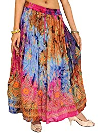 Exotic India Multi-Color Long Skirt With Printed Paisle