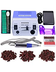 30000RPM Pro Electric Nail Drill Manicure Pedicure Acrylics Gel Salon Art Tool Set Kit with Sanding Band Accessories (Grace Purple)