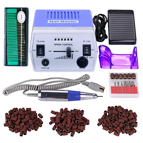 Kit Pro Drill (30000RPM Pro Electric Nail Drill Manicure Pedicure Acrylics Gel Salon Art Tool Set Kit with Sanding Band Accessories (Grace Purple))