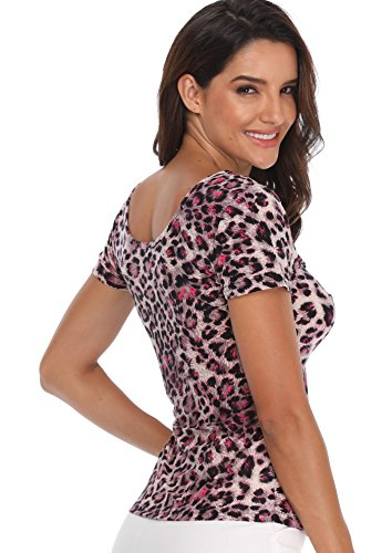 Camisas Blusas Print Front Pliegues Mujer Rosa Twisted Top Leopard Busto Y Estampado Ladies Tunic Sexy Para Leopardo Tie Slim Nudos En Cuello Con V wXXOrAqx