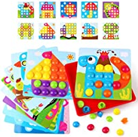 KIDCHEER Arts and Crafts for Kids, Color Matching Mosaic Pegboard Early Learning Educational Peg Puzzle Toys for Boys & Girls